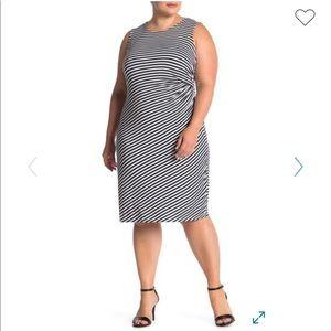 Bobeau stripe print side draped dress, NWT.